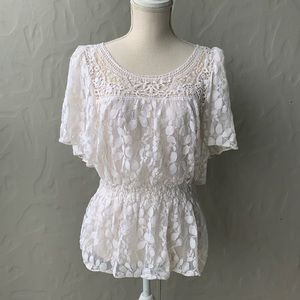 Gap Lace Embroidered Top Cream Large